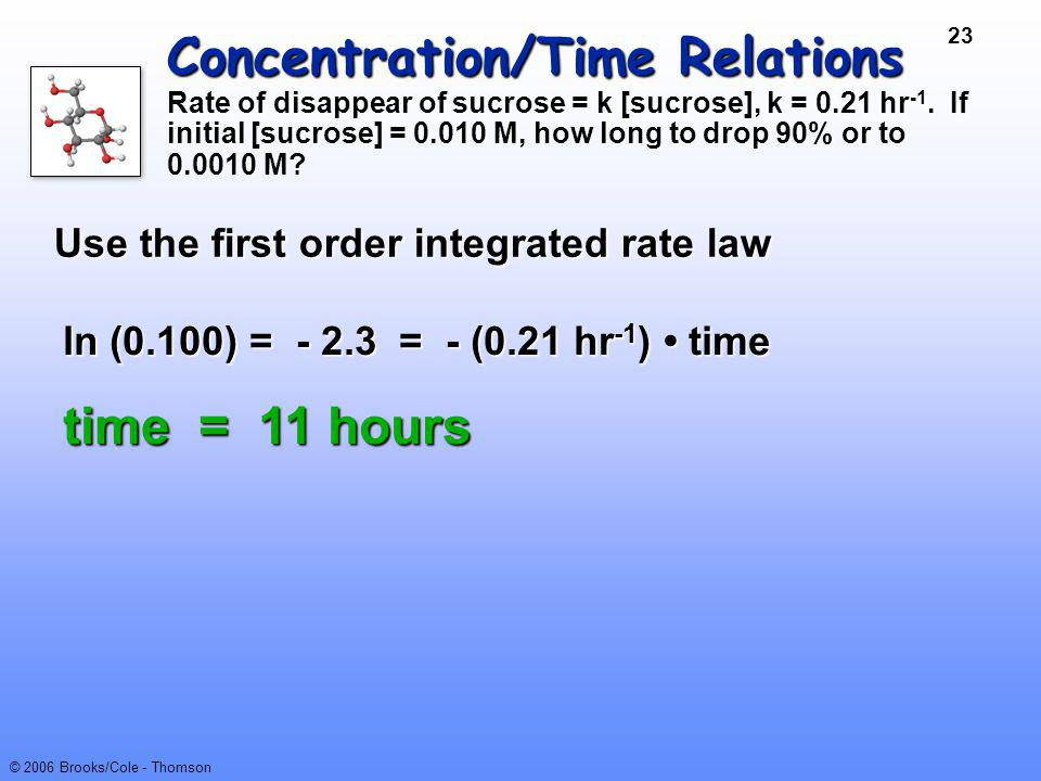 Concentration/Time Relations Rate of disappear of sucrose = k [sucrose], k = 0.21 hr-1. If initial [sucrose] = 0.010 M, how long to drop 90% or to 0.0010 M